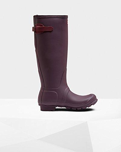 Hunter Women's Original Tall Back Adjustable Rain Boot, Black Grape/Bright Violet, 7 B(M) US