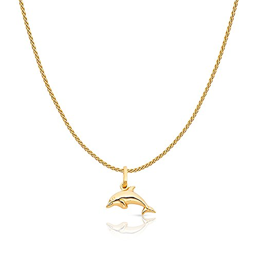 14K Yellow Gold Jumping Dolphin Prosperity Charm Pendant with 0.9mm Wheat Chain Necklace - 20