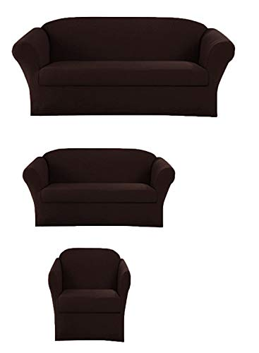 Elegant Home Stretch to Fit 3 Piece or 2 Piece or 1 Piece for Sofa Loveseat & Arm Chair Slipcover Furniture Protector # Stella (3 Piece Sofa Love Seat Chair -