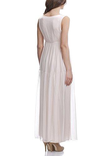 Laura Moretti - Vestido de seda largo con detalles en plata y bordados Rosa