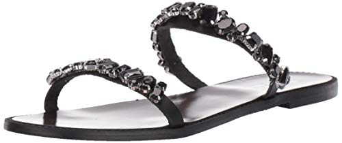 Badgley Mischka Women's Loveday Flat Sandal Black Leather 7 M US ()