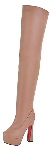 Barreled hochhackigen Stiefel Damen stiefel Aprikose