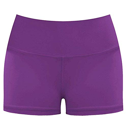 Purple Baseball Shorts - LOVESOFT Women's Workout Cycling Running Volleyball Tights Yoga Shorts with Side Pockets (Purple, L)