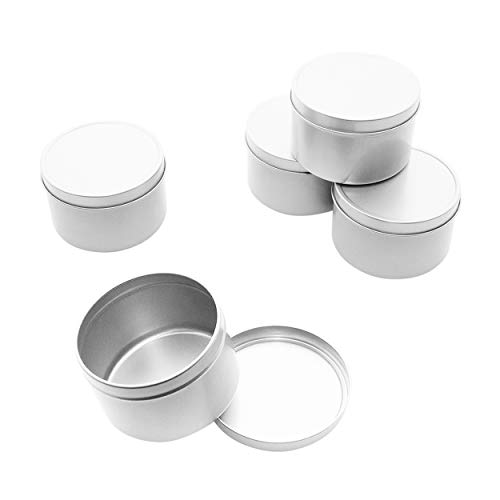 (Mimi Pack 8 oz Round Tin Cans Deep Solid Top Lid Steel Containers For Spices, Balms, Gels, Candles, Gifts, Storage 24 Pack (Silver))