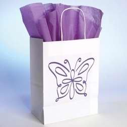 (Gift Bag - Butterfly w/Tissue - SML - Wht)