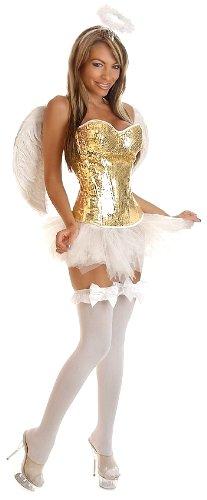 Daisy Corsets 4 PC Glitter Pin-Up Angel Costume Medium