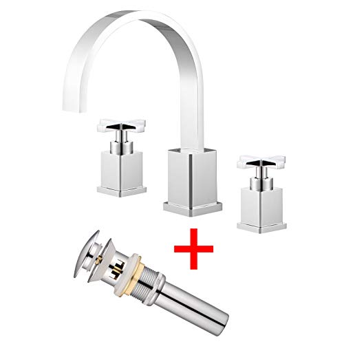 Etel Two Handle Widespread Bathroom Faucet, 3 Hole Widespread Bathroom Lavatory Sink Faucet, 8 Inch High Arc Cross Handle Roman Tub Faucet with Pop Up Drain Y6899 (Chrome) ()