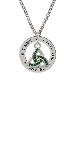 (Silvertone Small 2-D Green Trinity Knot - I Love You Affirmation Ring Necklace)