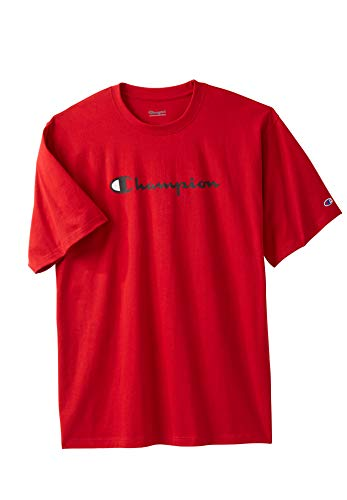 - Champion Men's Big & Tall Script Logo Tee, Red Tall-4XL