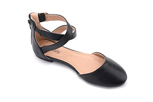 Mila Lady Kay New Fashion Womens Pointed Toe Ankle With Floral Print DOrsay Flats Black FNd6Q1Y2