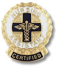 EMI Certified Nursing Assistant (CNA) Emblem Round Emblem Pin - Wreath edge Round Wreath Pin
