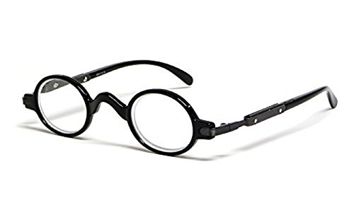 The Professor Teacher Round Oval Vintage Style Unisex Spring Hinge Reading Glasses For Men and Women Readers +1.25 Black (Carrying Case Included) ()