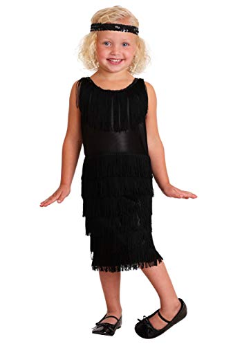 Flapper Toddler Costumes - Toddler Black Fringe 1920s Flapper Costume Dress