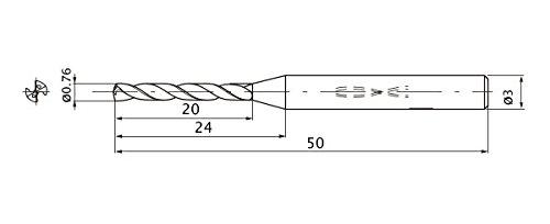 12 Hole Depth 0.76 mm Cutting Diameter 0.16 mm Point Length Mitsubishi Materials MWS0076XB MWS Solid Carbide Drill Internal Coolant 3 mm Shank Diameter