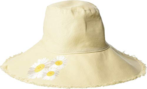San Diego Hat Company Women's CTH8261 - Bucket Hat with Daisy Embroidery and Fray Edge Natural One Size ()