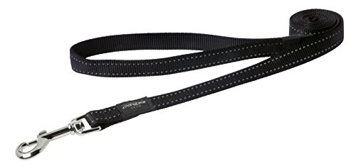 Reflective Dog Leash for Large Dogs, 3/4' wide, 6' long, Black