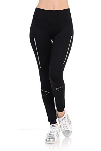 Sweet Look Women's Power Flex Yoga Pants Leggings Sportswear - Sport Pants - Style A03 - Black - Size Large-XLarge