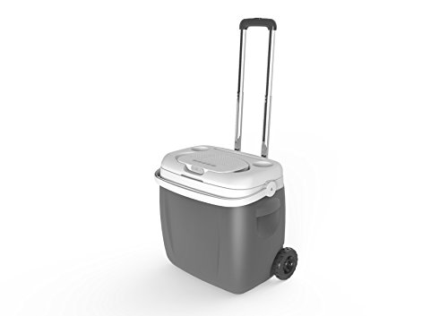 SoundFloe Ice Chest Trolley Cooler with Detachable Floating Water Resistant IPX6 Bluetooth Speaker, Plus Battery Backup Powerbank with connected bottle opener - built in. (Grey)