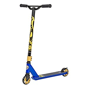 STAR-SCOOTER Original Pro Sport Complete Lightweight Stunt Scooter for Adults, Teenager and for Kids over 7 years | For Beginners & Intermediate Skill Riders with Alloy Wheels 100mm | Blue & Gold