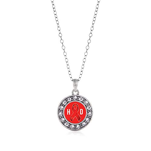 Inspired Silver - Heart Disease Awareness Ribbon Charm Necklace for Women - Silver Circle Charm 18 Inch Necklace with Cubic Zirconia Jewelry (Charm Awareness Necklace Ribbon)