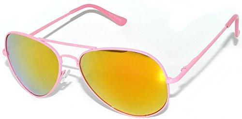 Classic Neon Pink Frame Aviator Glasses Gold-Red Lens Spring Hinge
