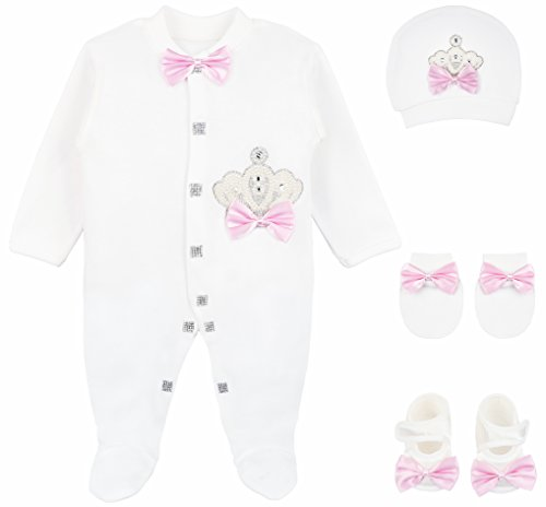 Lilax Baby Girl Newborn Crown Jewels Layette 4 Piece Gift Set 0-3 Months Pearl Crown (Piece Layette)