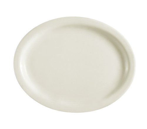 CAC China NRC-27 Narrow Rim 13-1/2-Inch by 10-1/2-Inch American White Stoneware Deep Oval Platter, Box of (Deep Platter)