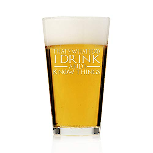 Party Stein Groom (I Drink and I Know Things, That's What I Do Game Of Thrones Inspired Gift, 16 ounce Pint Beer Glass, Groomsmen Beer Glass Gift, Best Man Gift, Bridal Party Gift, Groom Beer Glass.- SET OF 4 GLASSES)