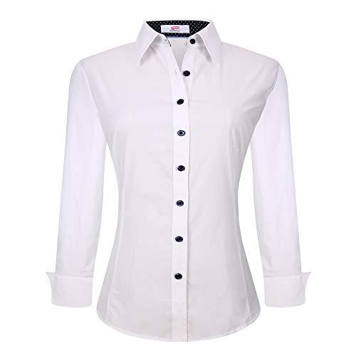 UniFashion Womens Casual Button Down Shirts Long Sleeve Regular Fit Work Shirt,White, Large