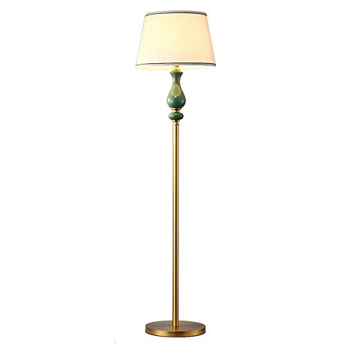 - Belief Rebirth Reading Floor Lamp - Free Standing Modern Pole Light with Fabric Shade - Ceramic Decorative Column- 100% Brass Fixture and Base