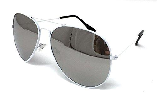 soleil Homme de Size White Silver WSUK Lens One Frame Lunettes Mirrored BaEPxP