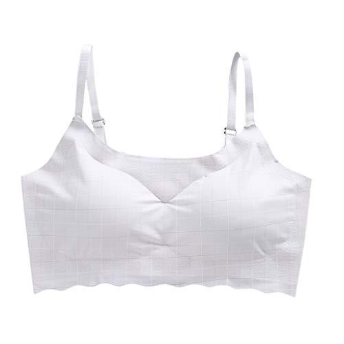 Keepmove Women's Striped Wire Free Bra Beauty Back Tube Everyday Comfort Underwear(Gray,M)