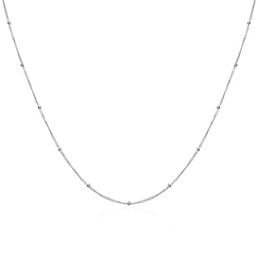 - YFN Sterling Silver Layered Choker Satellite Beaded Curb Ball Chain Necklace for Women Girls (Satellite Beaded Ball Chocker)