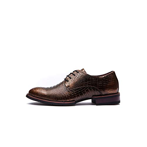 Junming Department Store Fashion Luxury Men Formal Leather Shoes Office Work Shoes 38-43,Copper,8.5