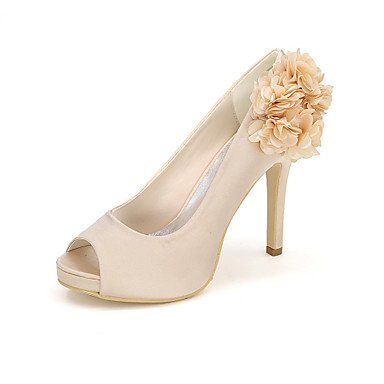 Best Party 4U Wedding Summer For Null Shoes Basic Wedding Heel Applique Stiletto Women's Buckle Pump White Satin Null Toe Peep Shoes Spring Evening RgASRrqw