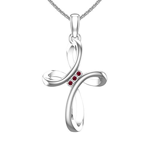 Sterling Silver Looped Women Cross Pendant Necklace in 1/10 Carat Lab-Grown Ruby with 17.5