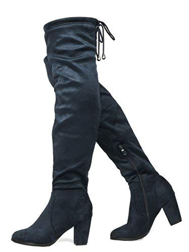 - DREAM PAIRS HIGHLEG Women's Thigh High Fashion Over The Knee Drawstring Strech Block Mid Heel Boots Dark Blue-SZ-9.5