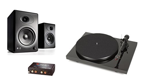 Pro-Ject Debut Carbon DC Turntable with Ortofon 2M Red Cartridge Bundle with Phono Box and Audioengine A5+ Speakers (Black)