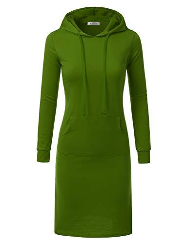 Doublju Hoodie Midi Dress Women Plus Size Green L