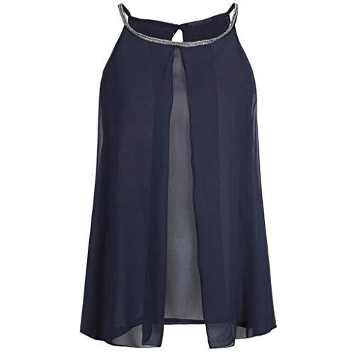 New Chiffon Tank Top Women Summer Loose top Fashion Sequins Round Neck Shirt Sleeveless Vest Tank Shirt top Camisole Navy L