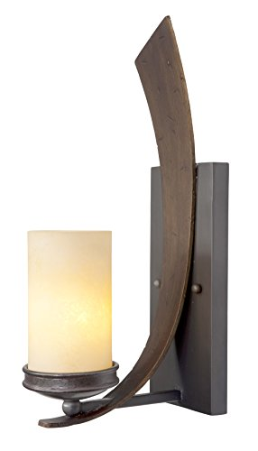 Varaluz 112W01B Aizen Light Wall Sconce, Hammered Ore Finish with Tea Stained Creamy Glass Shade, 5-1/2-Inch by 18-Inch by - Lighting Wall Varaluz