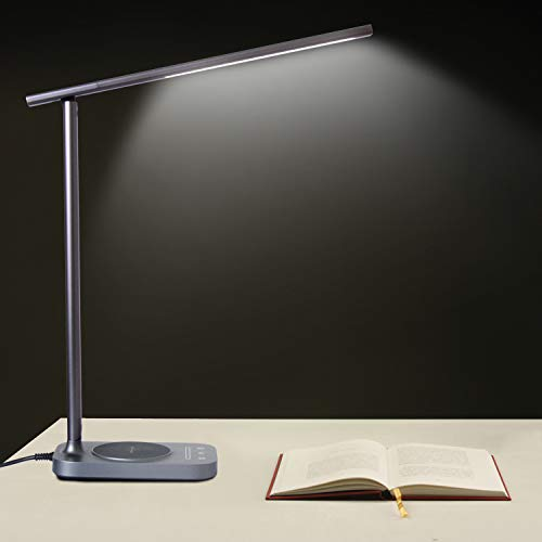 ROZKY Desk Lamp with Wireless Charging for iPhone/Samsung/LG etc,USB Charging Port LED Desk Lamp,Stepless Sliding Dimmable/Timer/Touch/Memory Function,Grey by rozky (Image #5)