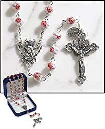 Paola Carola Antica Tradizione Italiana Pink Murano Rosary. 8 Mm Faceted Glass Bead -- 23\