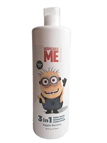 Apple Scented Body Wash - Despicable ME Minion Made 3 in 1 Body Wash, Shampoo & Conditioner 24 Fl Oz. Apple Banana Scented (Pack of 2) Bonus Size