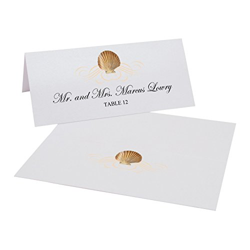 Scallop Seashell Flourish Easy Print Place Cards, Pearl White, Set of 400 (100 Sheets) by Documents and Designs