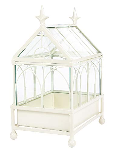 H Potter Terrarium Wardian Case Metal Tabletop Off White ()