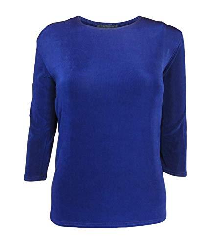 - Miss Modestee Womens ¾ Sleeve Slinky Layering Shell Top (Medium, Royal Blue)