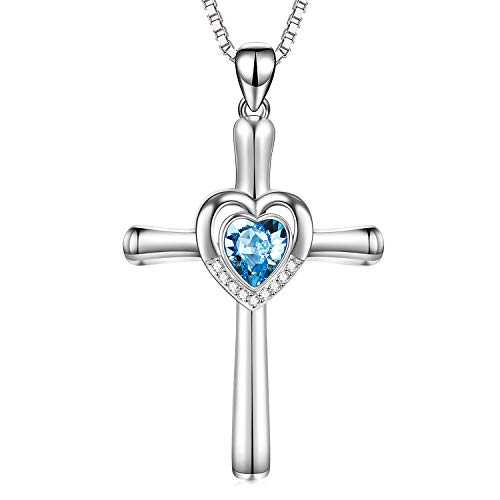 Sterling Silver Crucifix Necklace with Heart Simulated Aquamarine Swarovski Crystals Jewelry Infinity Love March Birthstone Necklace Birthday Gifts for Teens Women