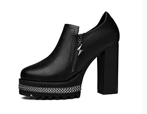 Impermeable Mujer Negros Pequeños Otoño Con Puntiagudos A Zapatos De Tacones Plataforma Altos fnYYva