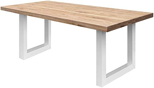 COMIFORT Mesa de Comedor - Mueble para Salon Oficina Despacho Robusto y Moderno de Roble Macizo Color Dorado, Patas de Acero U-Forma Blancas (120x75 cm)